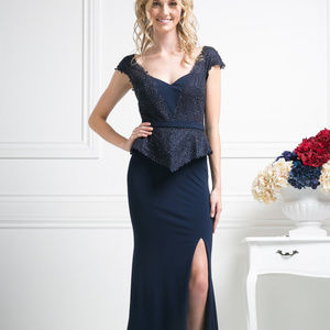 Beaded Lace Sateen Sheath Dress CDDS317